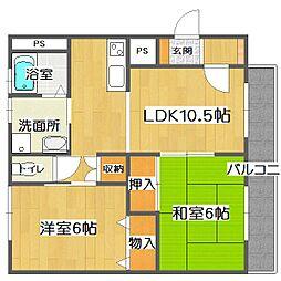 広島県福山市久松台2丁目の賃貸マンションの間取り