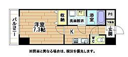 北九州都市モノレール小倉線 香春口三萩野駅 徒歩4分の賃貸マンション 3階1Kの間取り