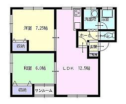 秋田県横手市条里3丁目の賃貸アパートの間取り