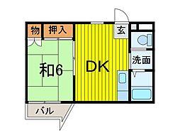 埼玉県蕨市中央3の賃貸マンションの間取り