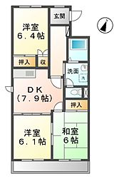 愛知県清須市西枇杷島町日の出の賃貸マンションの間取り