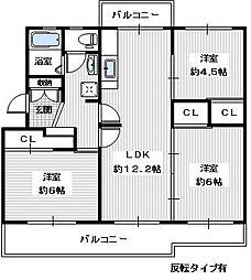 ヴィラナリー狭山 8号棟[302号室]の間取り