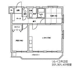 ソレイユ木之庄[4階]の間取り