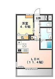 兵庫県加古郡播磨町南野添1丁目の賃貸アパートの間取り