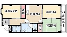 サンシャイン徳重[3階]の間取り