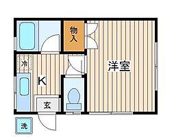 神奈川県横浜市神奈川区浦島丘の賃貸アパートの間取り