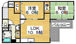 コスモスハイツ[2階]の間取り