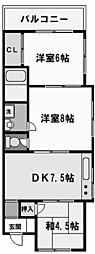 兵庫県西宮市平松町の賃貸マンションの間取り
