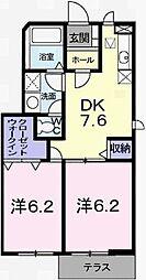 兵庫県姫路市別所町佐土の賃貸アパートの間取り