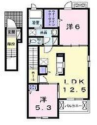 香川県高松市新田町の賃貸アパートの間取り
