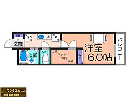大阪府堺市東区北野田の賃貸アパートの間取り