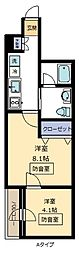 Note Kumegawa[201号室]の間取り