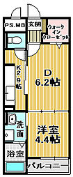 ニューファーム 2階1DKの間取り