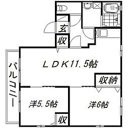 静岡県浜松市浜北区東美薗の賃貸アパートの間取り