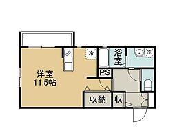 Comfort House 山の手 1階ワンルームの間取り