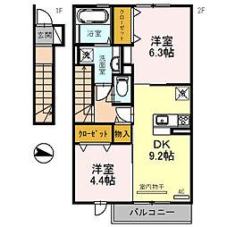 エクレール福井[203号室]の間取り