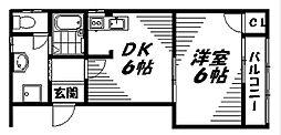 京阪本線 守口市駅 徒歩20分の賃貸マンション 3階1DKの間取り