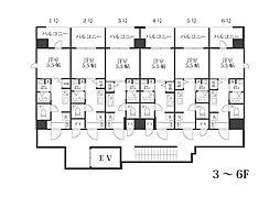福岡市地下鉄空港線 西新駅 徒歩17分の賃貸マンション 5階1Kの間取り