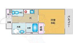 南海線 天下茶屋駅 徒歩8分の賃貸マンション 8階1Kの間取り