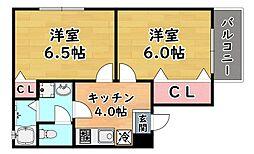 阪急神戸本線 六甲駅 徒歩13分の賃貸マンション 2階2Kの間取り