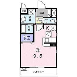 神奈川県秦野市南矢名1丁目の賃貸アパートの間取り