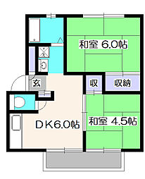 東京都東久留米市南沢2の賃貸アパートの間取り