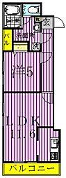 アーバハイツ扇大橋 2階1LDKの間取り