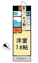 グランド・ガーラ神田 4階1Kの間取り