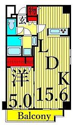 Confort Residence Nippori 2階1LDKの間取り
