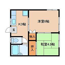 JR東海道本線 静岡駅 バス8分 中田三丁目西下車 徒歩4分の賃貸アパート 1階2Kの間取り