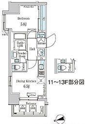 東京メトロ東西線 門前仲町駅 徒歩5分の賃貸マンション 8階1DKの間取り
