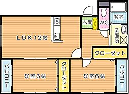 プレステージ加奈陀[1階]の間取り