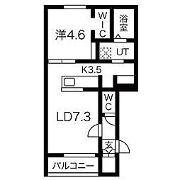 JR学園都市線 あいの里教育大駅 徒歩1分の賃貸アパート 1階1LDKの間取り