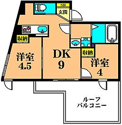 JR京浜東北・根岸線 大井町駅 徒歩8分の賃貸マンション 5階2DKの間取り