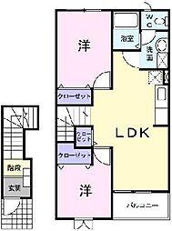 埼玉県川口市大字安行原の賃貸アパートの間取り
