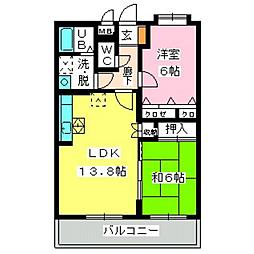 福岡県福岡市城南区堤2丁目の賃貸マンションの間取り