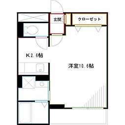 JR中央本線 武蔵境駅 徒歩35分の賃貸マンション 1階1Kの間取り