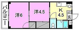 第三シャトレイレブン[203 号室号室]の間取り