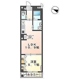 (仮)ユニヴァリィ三篠町店舗付賃貸マンション 3階1LDKの間取り