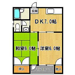 コンフォート石田[2階]の間取り
