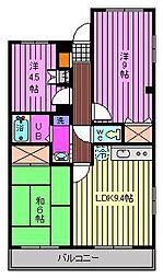 埼玉県さいたま市緑区馬場2丁目の賃貸マンションの間取り