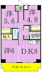 エクセラン東松戸[107号室]の間取り