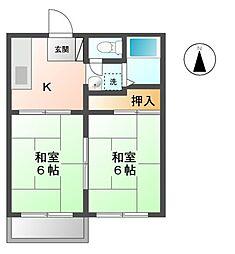 神奈川県川崎市中原区新城中町の賃貸アパートの間取り