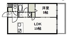 JR山陽本線 岡山駅 徒歩16分の賃貸マンション 3階1LDKの間取り