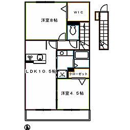 京王線 仙川駅 徒歩22分の賃貸アパート 2階2LDKの間取り