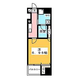 グランカーサ上野入谷 3階1Kの間取り