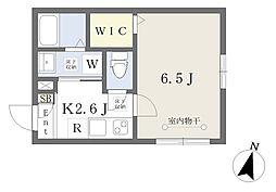 エクセリエ湘南 1階1Kの間取り