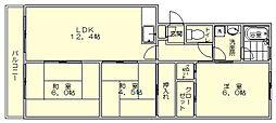 福岡県福岡市博多区三筑1の賃貸マンションの間取り