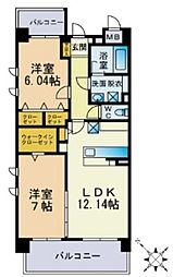 JR香椎線 須恵駅 徒歩8分の賃貸マンション 4階2LDKの間取り
