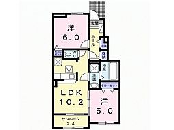 ルーチェB[1階]の間取り